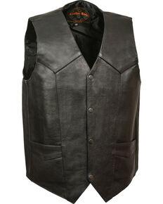 Milwaukee Leather Men's Black Classic Snap Gun Pockets Vest - Big , Black, hi-res
