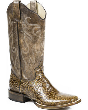 Roper Women's Vintage Faux Hand Tooled Western Boots, Tan, hi-res