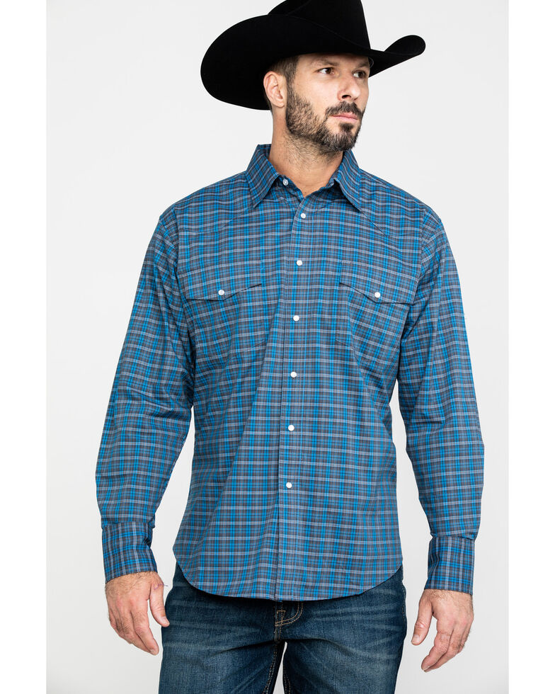 Wrangler Men's Wrinkle Plaid Small Multi Plaid Long Sleeve Western Shirt , Blue, hi-res