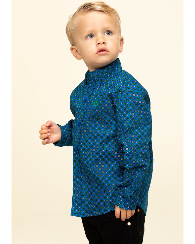 Cinch Toddler Boys' Royal Blue Geo Print Long Sleeve Western Shirt , Royal Blue, hi-res