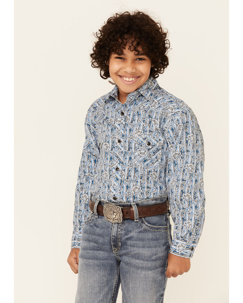 Rock & Roll Denim Boys' Blue Paisley Print Long Sleeve Western Shirt , Blue, hi-res