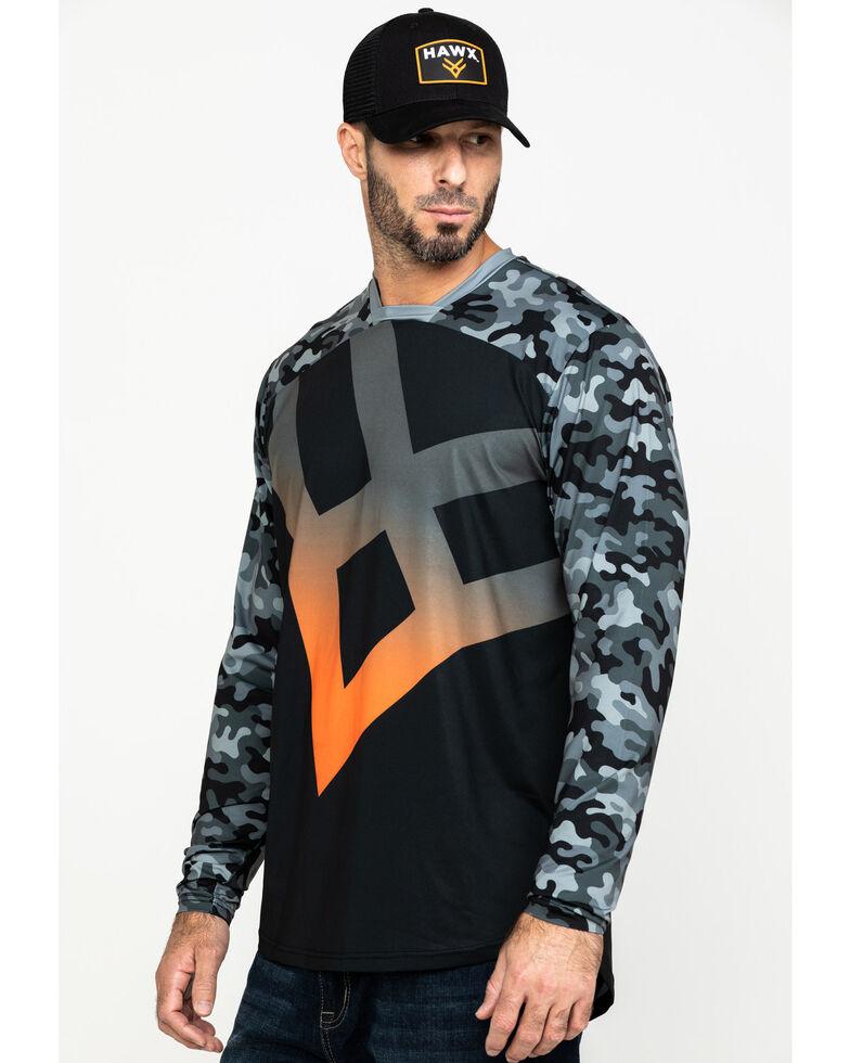 Hawx Men's Black Logo Moto Performance Long Sleeve Work T-Shirt , Black, hi-res