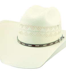 Larry Mahan Men's 10X Buckhorn Vent Straw Hat, Ivory, hi-res