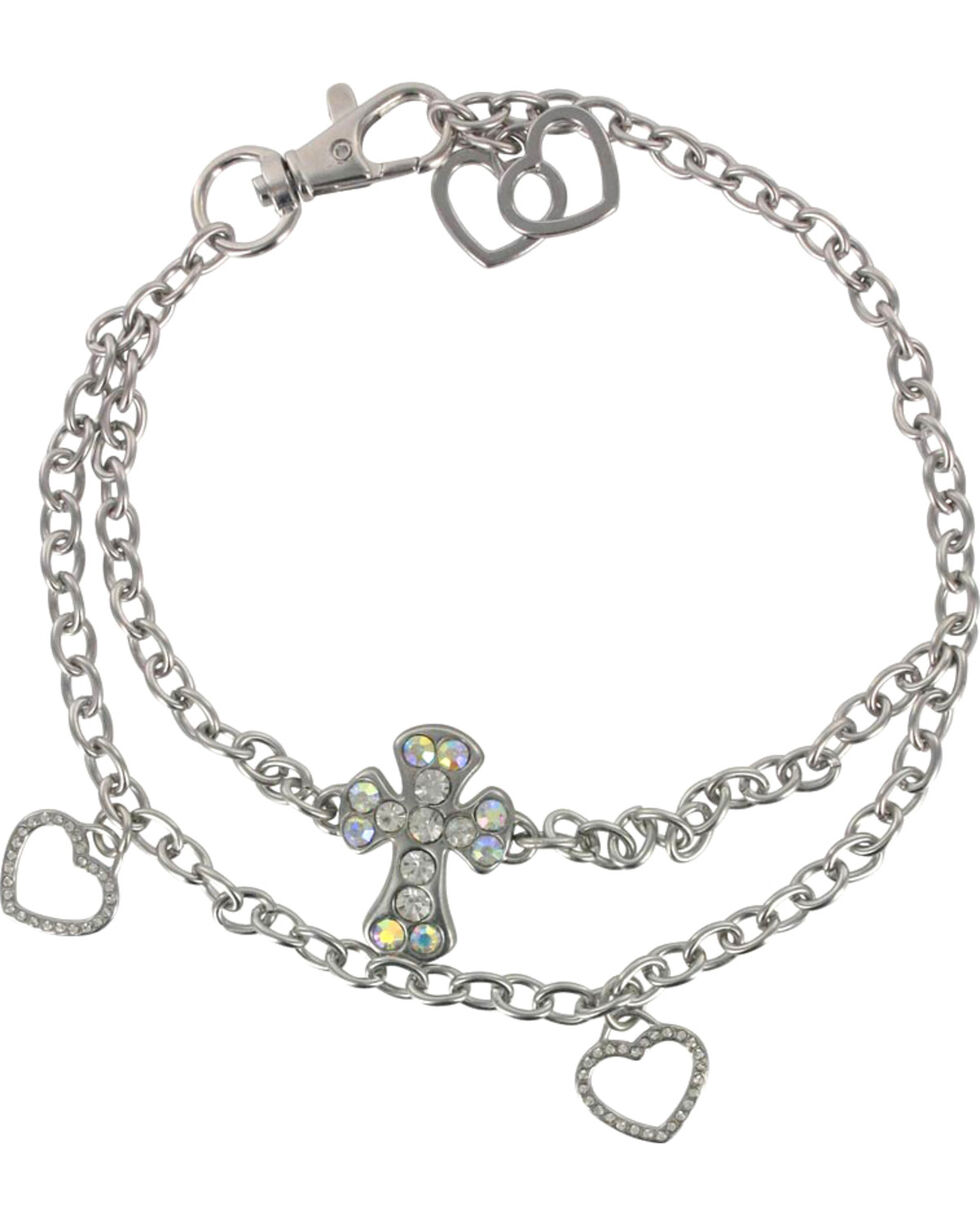 Shyanne® Women's Cross and Hearts Boot Bracelet, Silver, hi-res