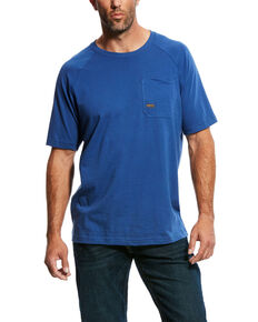 Ariat Men's Metal Blue Rebar Cotton Strong Short Sleeve Crew Work Shirt , Blue, hi-res