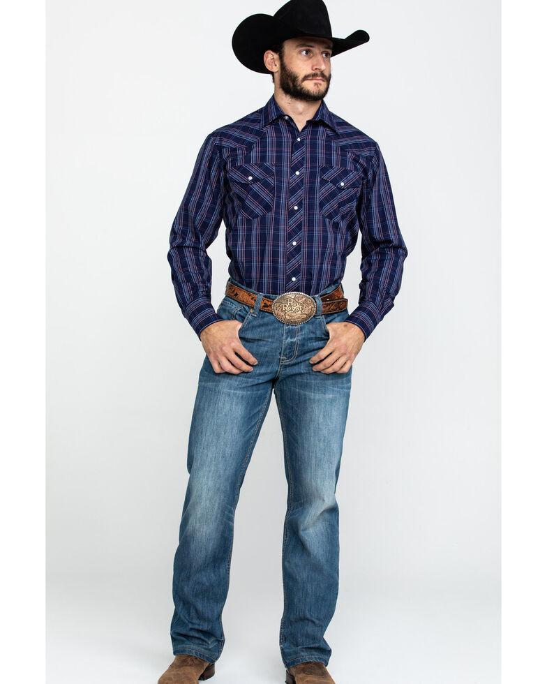 Roper Men's Classic Navy Woven Plaid Long Sleeve Western Shirt , Navy, hi-res