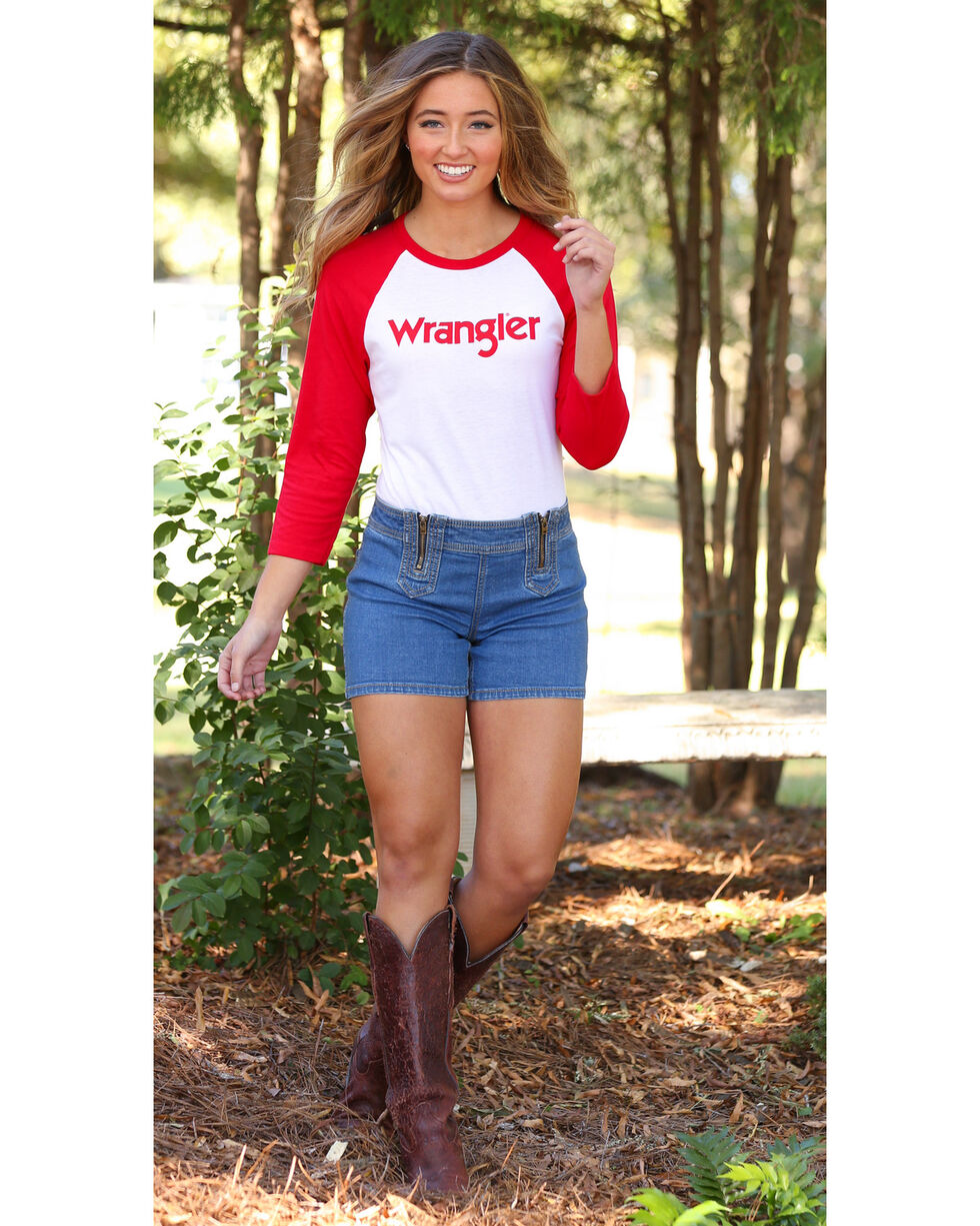 Wrangler Women's Raglan Baseball Tee, Red, hi-res