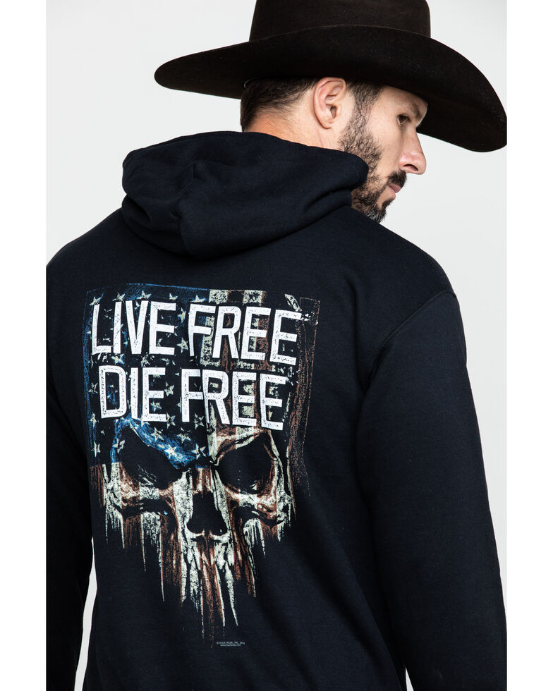 Buck Wear Men's Black Live Free Graphic Hooded Sweatshirt - Big , Black, hi-res