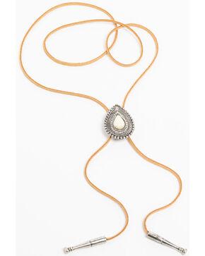 Shyanne Women's White Howlite White Stone Concho Bolo Tie Necklace, Silver, hi-res