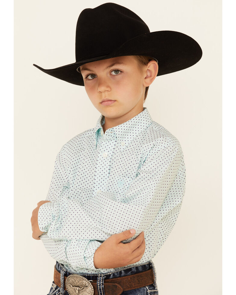 Ariat Boys' Penn Dot Geo Print Long Sleeve Button-Down Western Shirt , Aqua, hi-res