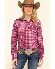 Cinch Women's Pink Geo Print Long Sleeve Western Shirt, Pink, hi-res