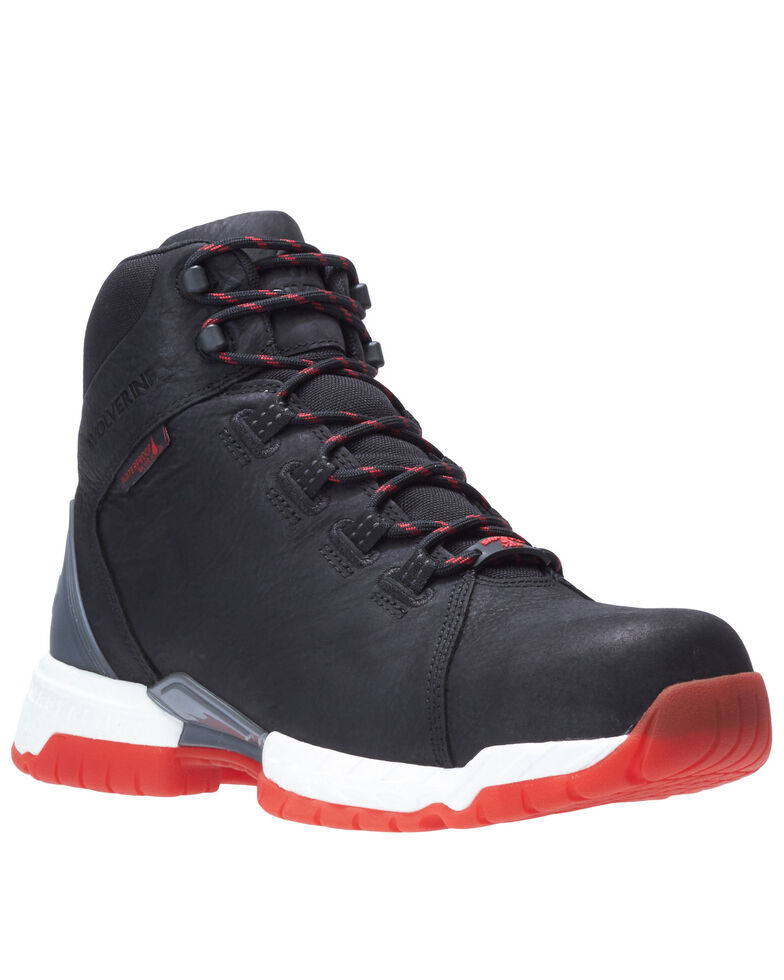 Wolverine Men's Red Trim I-90 Rush Work Boots - Composite Toe, Black, hi-res
