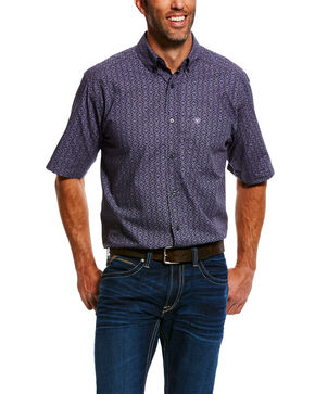 Ariat Men's Molina Geo Print Short Sleeve Western Shirt , Black, hi-res