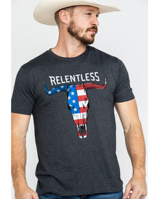 Ariat Men's Relentless American Flag Skull Graphic T-Shirt , Charcoal, hi-res