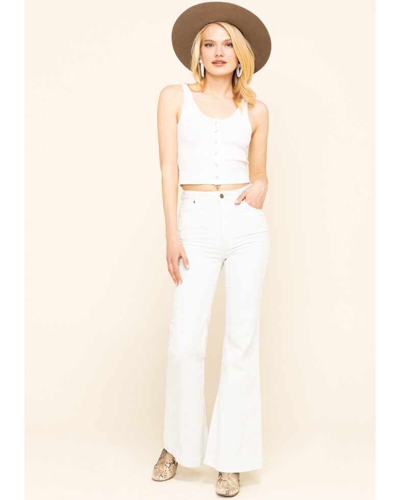 Miss Me Women's Ivory Ribbed Button Crop Top, Ivory, hi-res