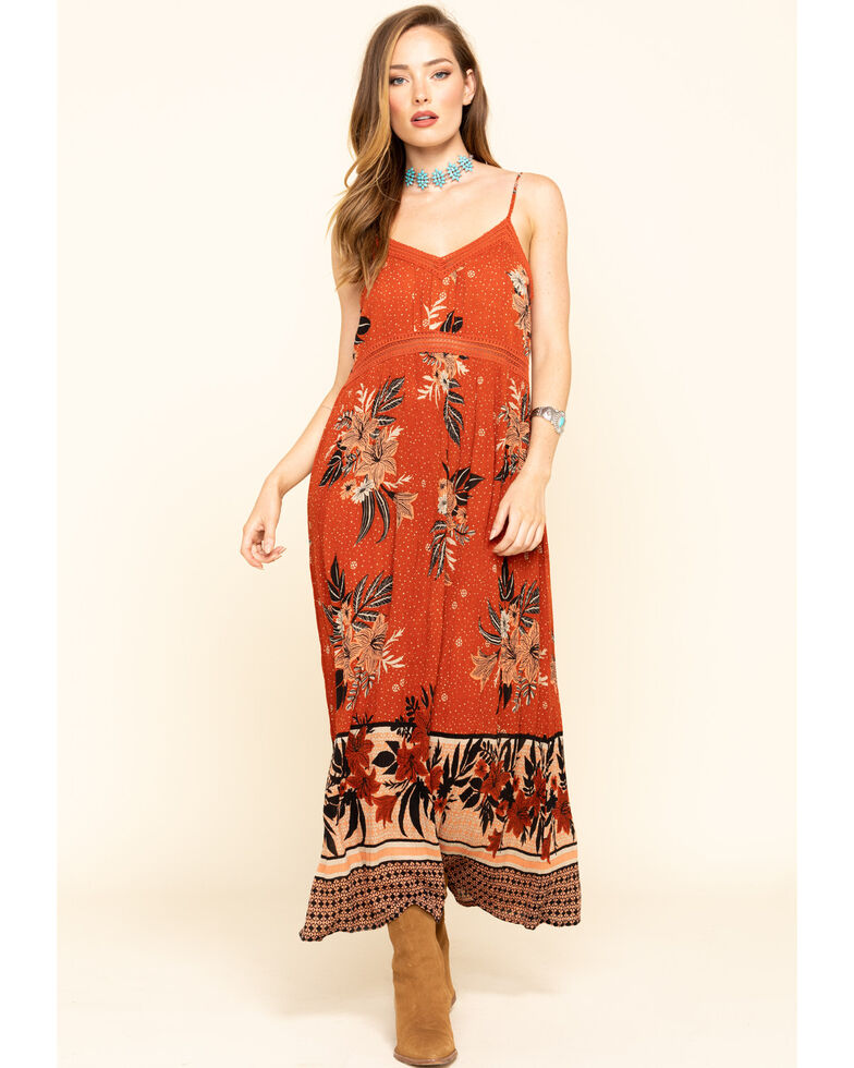 Patron of Peace Women's Rust Floral Border Sleeveless Maxi Dress, Rust Copper, hi-res