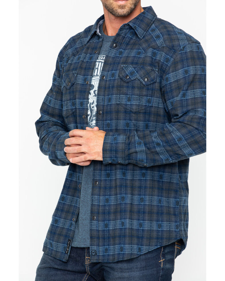 Moonshine Spirit Men's Crazy Horse Plaid Long Sleeve Western Flannel Shirt, Navy, hi-res