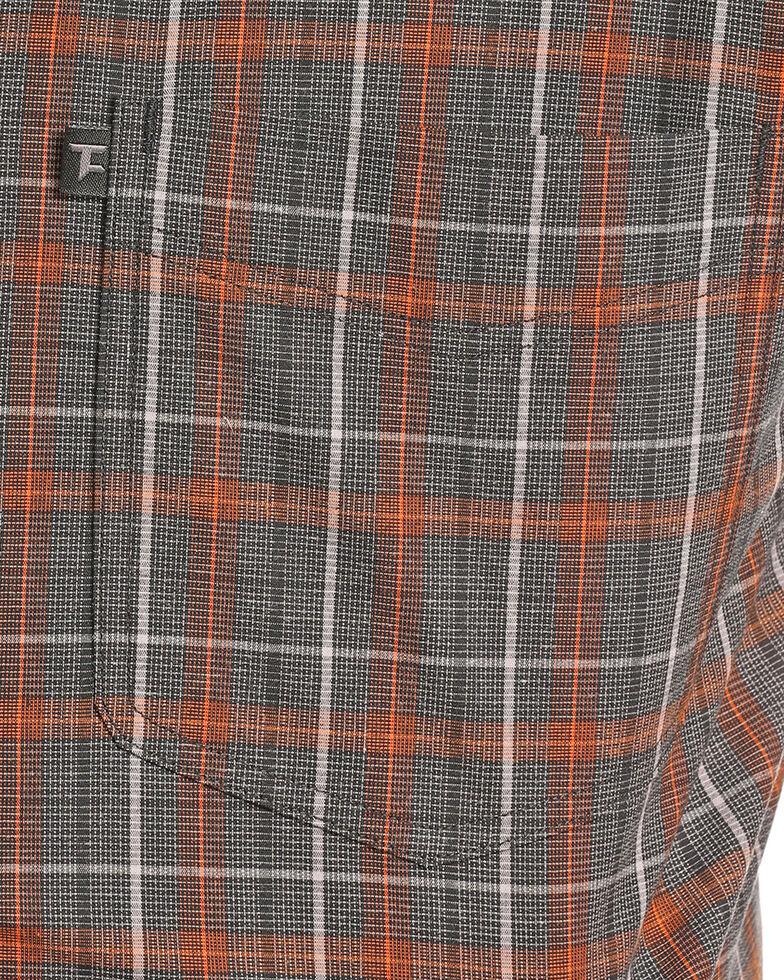 Tuf Cooper Men's Orange Stretch Plaid Long Sleeve Western Shirt , Orange, hi-res