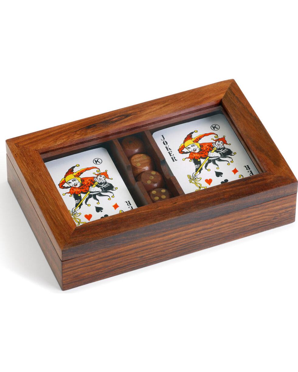 Demdaco Executive Wood Dice & Card Game Set, Brown, hi-res