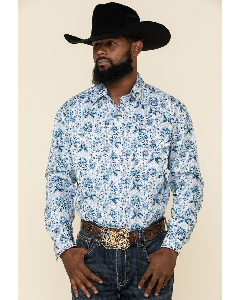 Rough Stock By Panhandle Men's Defiance Stretch Floral Print Long Sleeve Western Shirt , White, hi-res