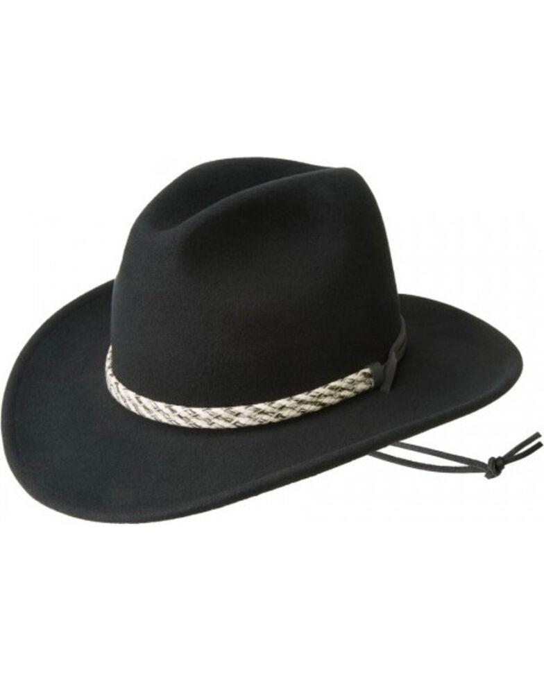 Bailey Men's Flyway Wool Felt Outback Hat, Black, hi-res