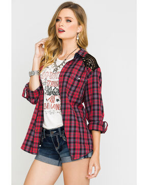 Shyanne® Women's Crochet Plaid Shirt , Red, hi-res