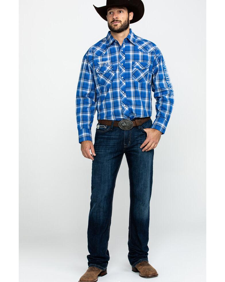 Wrangler Men's Logo Medium Plaid Long Sleeve Western Shirt, Blue, hi-res
