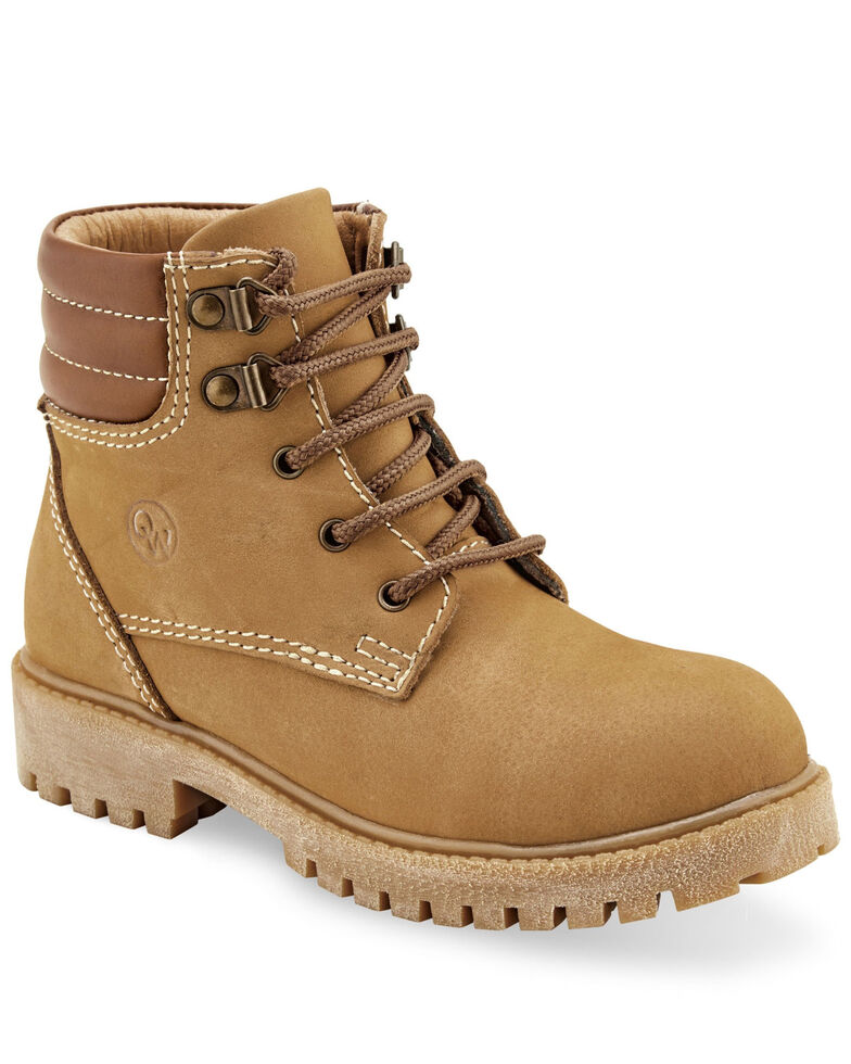 Old West Boys' Lace-Up Outdoor Boots - Soft Toe, Brown, hi-res