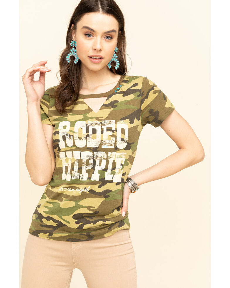 Bohemian Cowgirl Women's Camo Rodeo Hippie Graphic Tee, Camouflage, hi-res