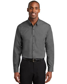 Red House Men's Black Solid Nailhead Non-Iron Long Sleeve Work Shirt , Black, hi-res