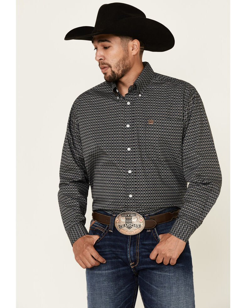 Cinch Men's Black Geo Print Long Sleeve Western Shirt , Black, hi-res