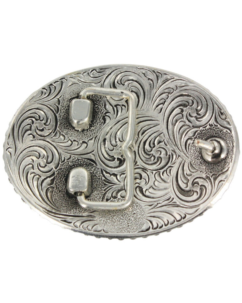 Cody James® Oval Long Horn Belt Buckle, Silver, hi-res