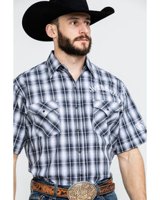 Jack Daniel's Men's Textured Plaid Short Sleeve Western Shirt , Black, hi-res