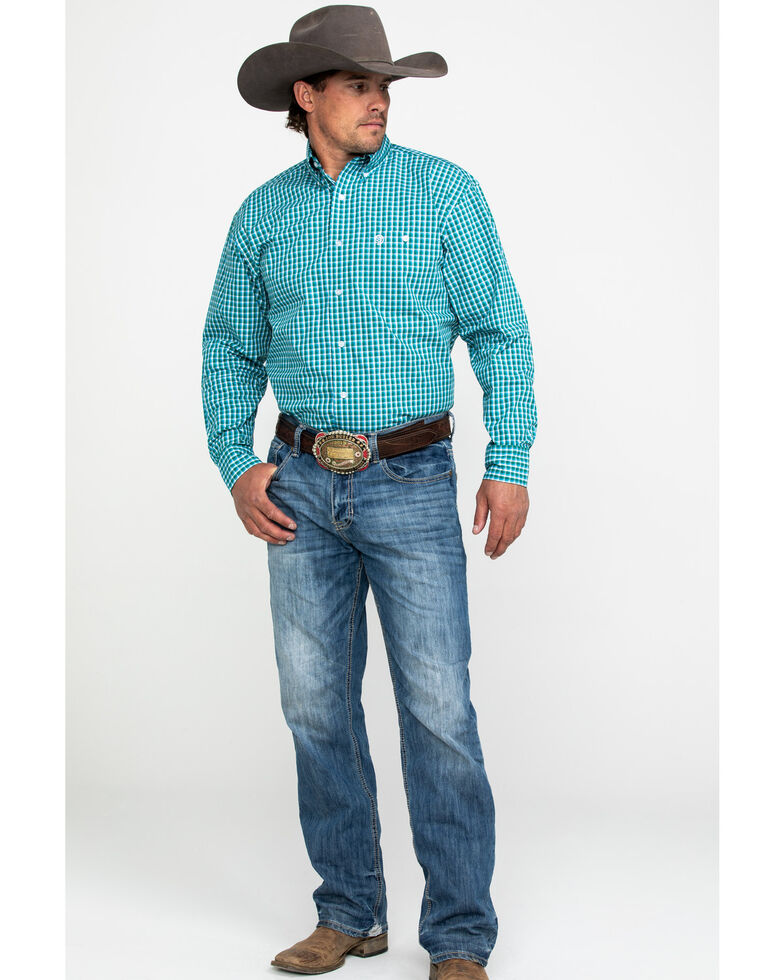 George Strait by Wrangler Men's Evergreen Plaid Long Sleeve Western Shirt , Green, hi-res