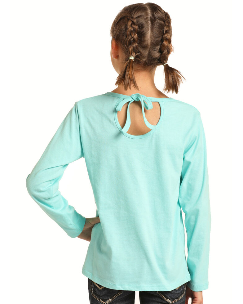 Rock & Roll Cowgirl Girls' Horse Tie-Up Back Long Sleeve Tee, Turquoise, hi-res