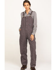 Berne Women's Titanium Softstone Insulated Bib Overalls - Tall, Grey, hi-res