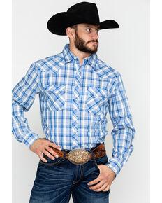 Wrangler Men's Large Plaid Long Sleeve Western Shirt , Blue/white, hi-res