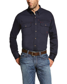 Ariat Men's Navy FR Solid Vent Long Sleeve Work Shirt - Big, Navy, hi-res