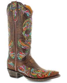 Old Gringo Women's Dulce Calavera Western Boots - Snip Toe, Brown, hi-res