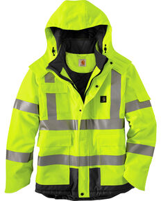 Carhartt Men's High Visibility Water Repellent Sherwood Work Jacket, Lime, hi-res