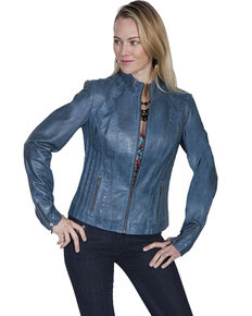 Leatherwear by Scully Women's Blue Lamb Leather Jacket, Blue, hi-res