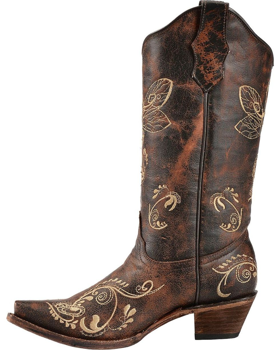 Circle G Women's Dragonfly Embroidered Western Boots, Brown, hi-res