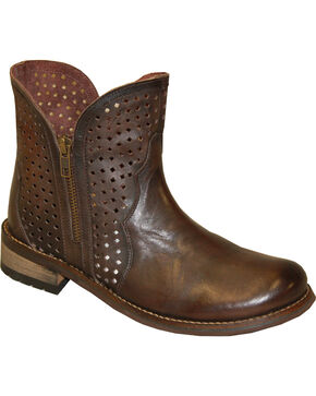 "Abilene Women's 5"" Ventilated Zippered Booties - Round Toe, Brown, hi-res"