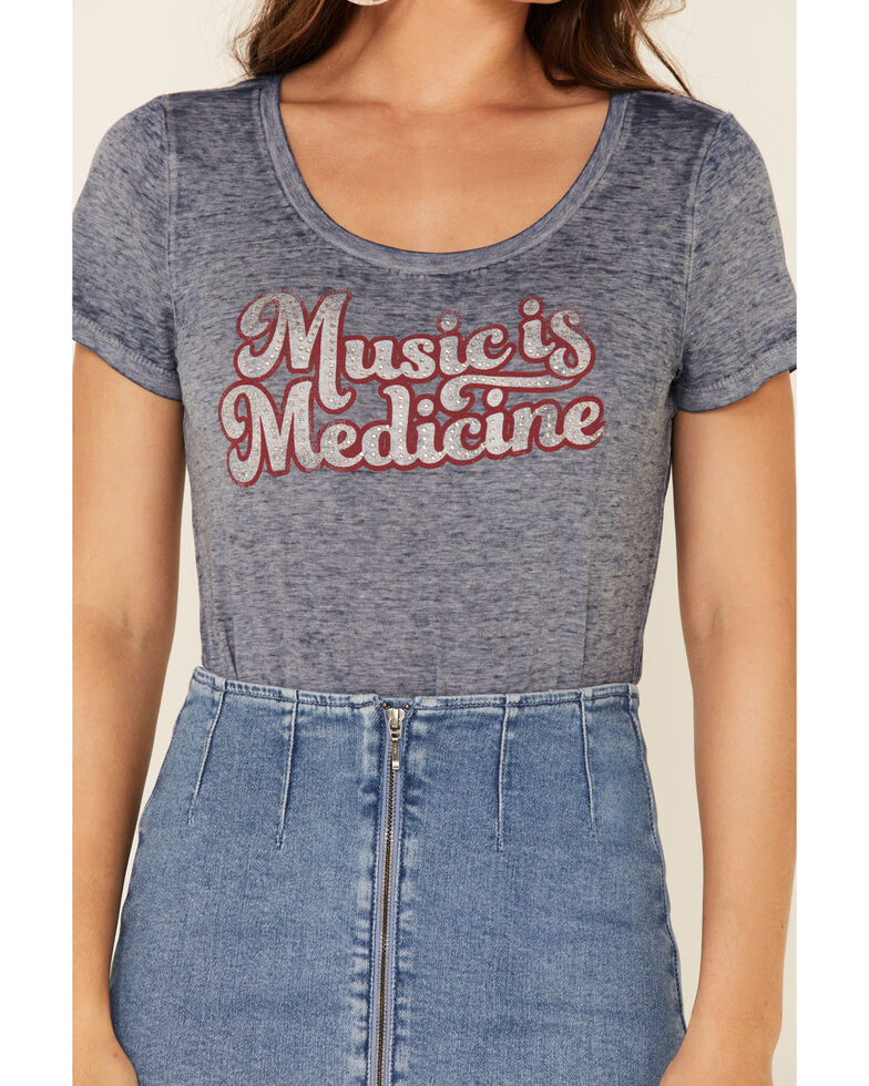 Idyllwind Women's Music Is Medicine Trustee Tee , Navy, hi-res