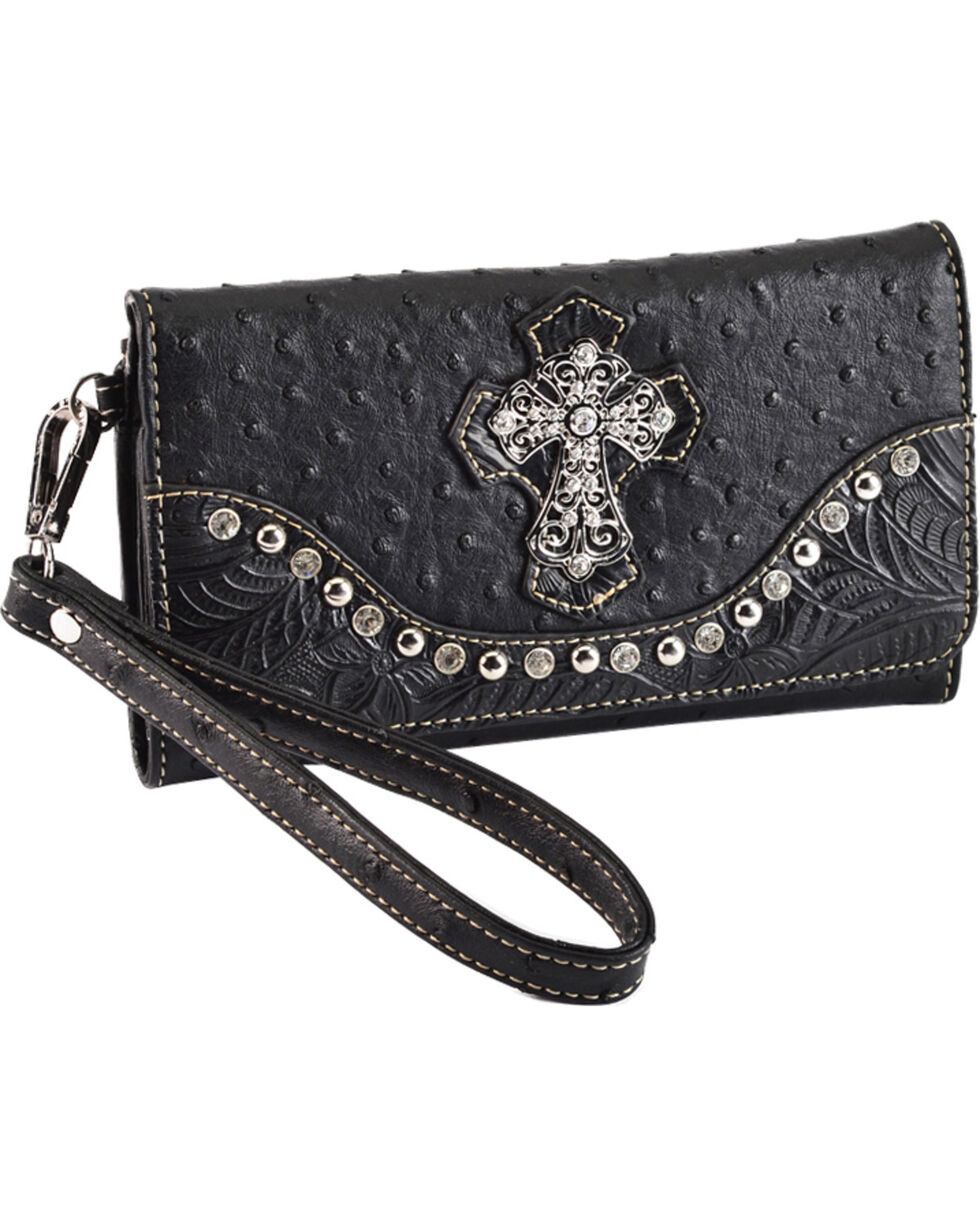 Blazin' Roxx Women's Cross Medallion Faux Ostrich Wallet, Black, hi-res