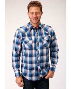 West Made Men's Arrow Dobby Plaid Long Sleeve Western Shirt , Blue, hi-res