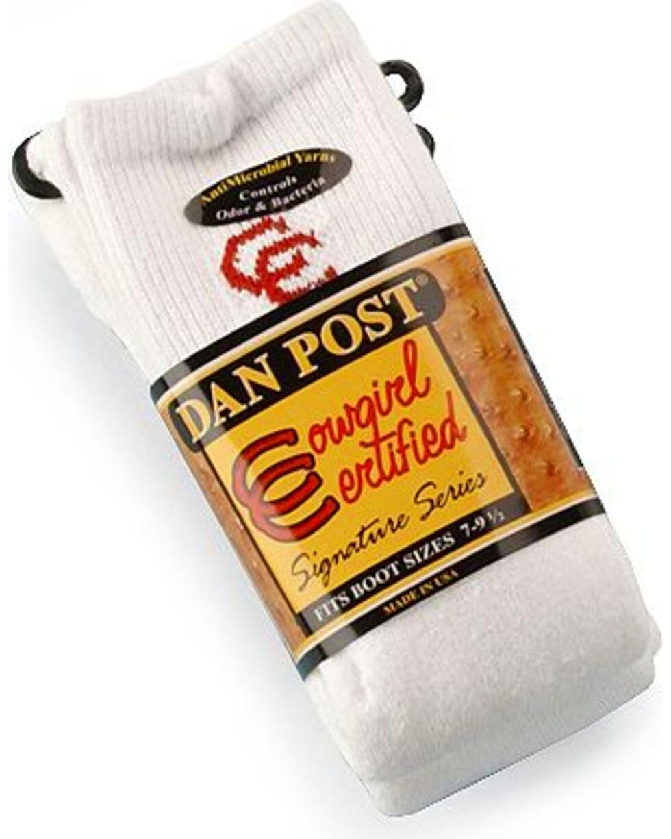 Dan Post Women's Cowgirl Certified Boot Socks (2-pack), White, hi-res