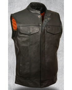 Milwaukee Leather Men's Open Neck Snap/Zip Front Club Style Vest - 4X, Black, hi-res
