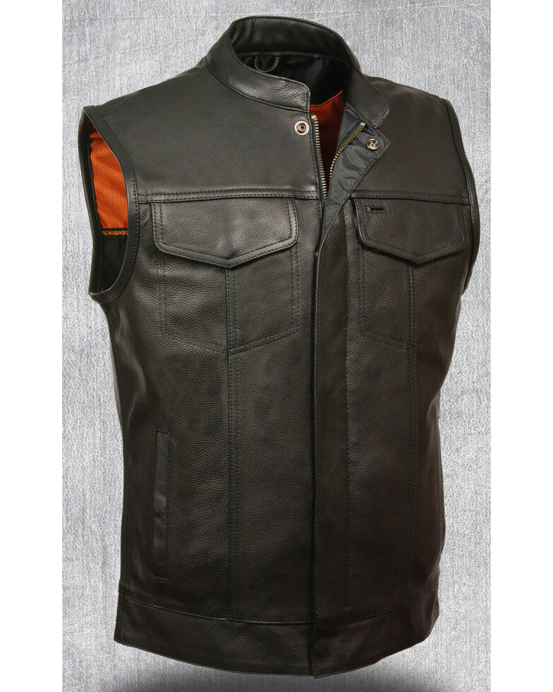 Milwaukee Leather Men's Open Neck Snap/Zip Front Club Style Vest - 4X, , hi-res