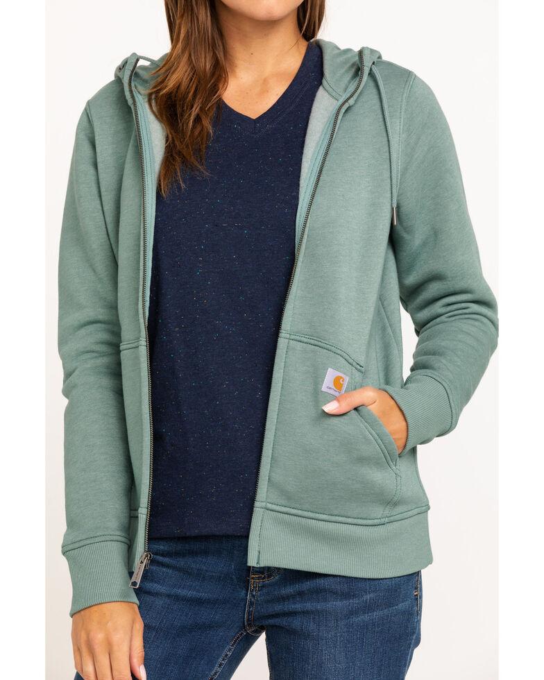 Carhartt Women's Clarksburg Hooded Sweatshirt, Heather Green, hi-res